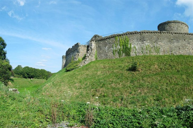 Ditch and outer wall of Kidwelly Castle