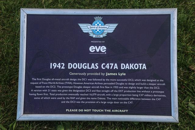 Goodwood Revival 2014 - Information Board - Douglas Dakota