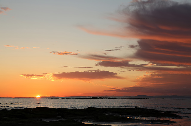 A setting sun at Lossiemouth West Beach