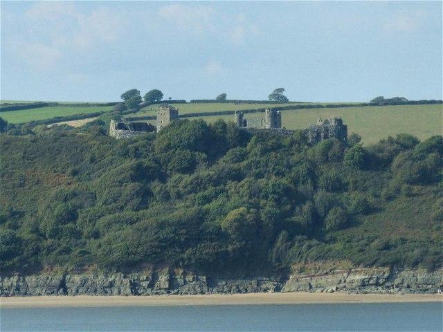 Llansteffan Castle from across the Towy