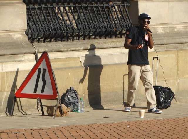Street rapper in Birmingham City Centre