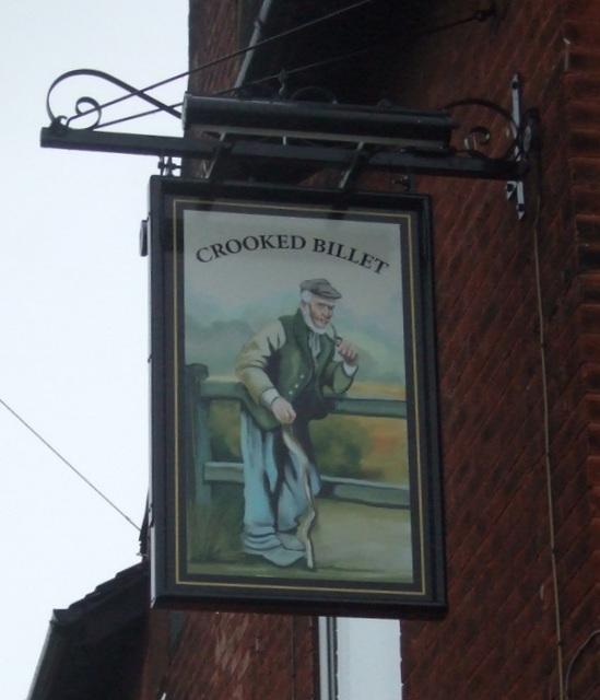 Sign for the Crooked Billet pub, Morton