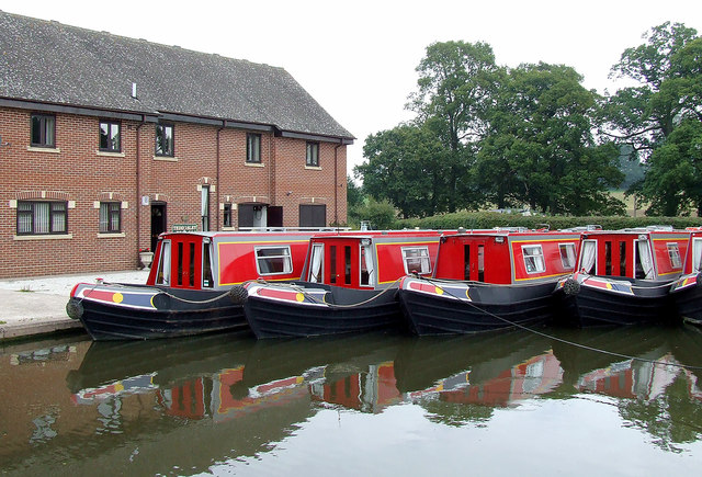 Teddesley Boat Company fleet north of Penkridge, Staffordshire