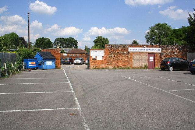 Carpark at entrance to Maiden Erleigh Bowling Club, Beech Lane
