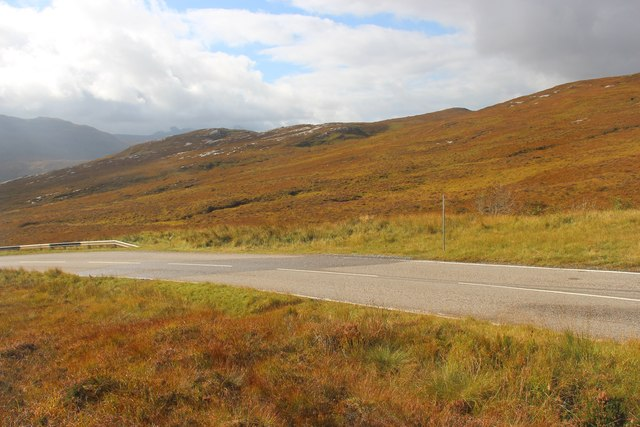 The A894 crosses moorland near Quinag