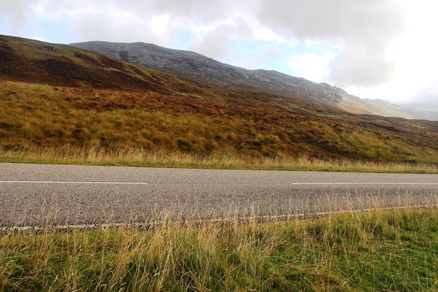 A894 skirts the west side of Glas Bheinn