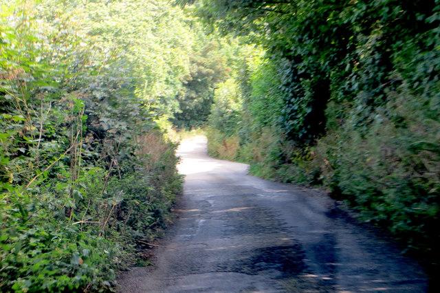 A very narrow and twisting Cornish lane.
