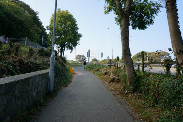 Cycle path up Penrhyn Hill