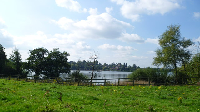 View across the Mere at Ellesmere, Shropshire in early autumn