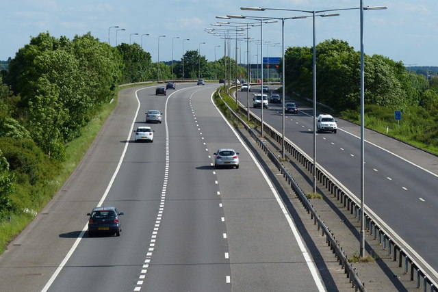 The southern end of the M69 motorway