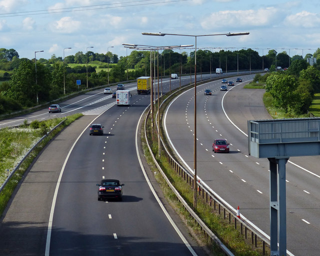 Looking north along the M69 motorway