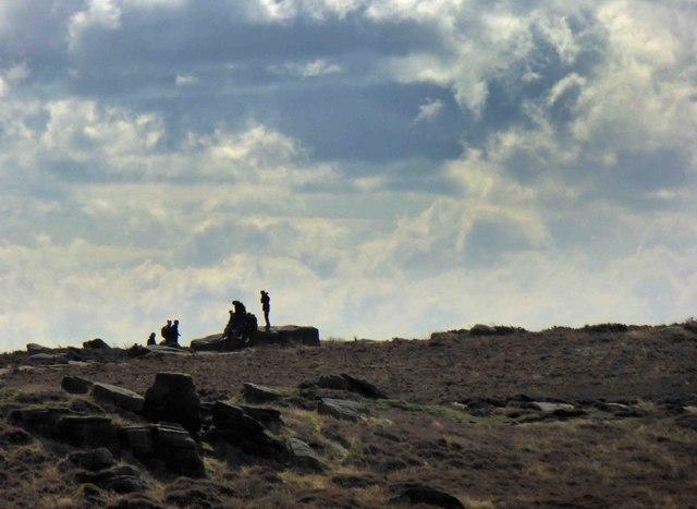 Walkers rest on Higger Tor