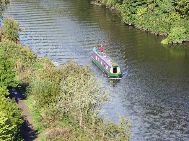 Narrow boat on the navigable River Don