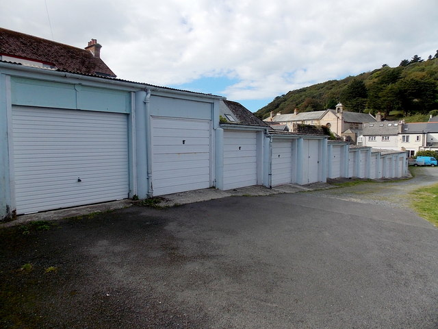 Lockup garages in Broadmead Gardens, Lynton