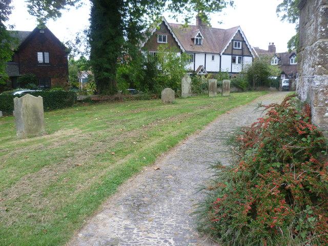 Path in St Mary Magdalene Churchyard, Cowden