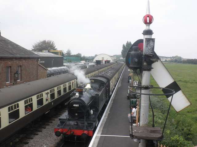 4160 arrives with a train from Minehead