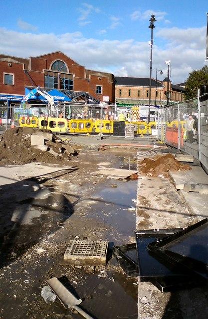 Repair work on Merseyway