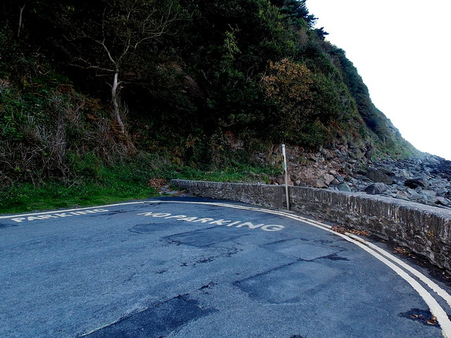 Sea wall at the  NW end of Esplanade Car Park, Lynmouth
