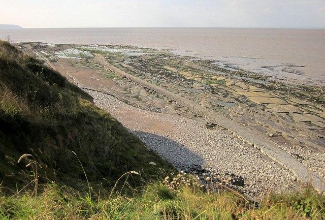 Wave-cut platform near Quantock's Head