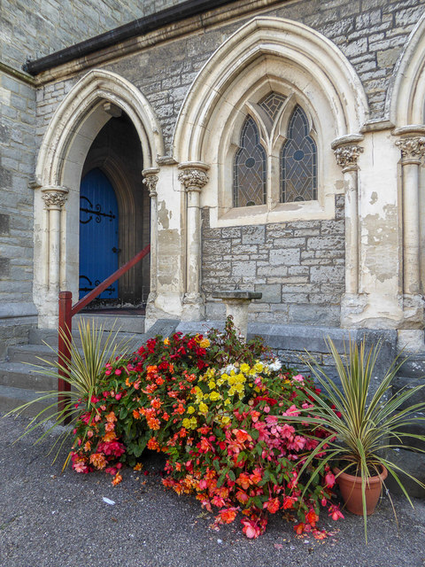 Floral Display at Entrance to St Michael's Church, Fore Street, Beer, Devon