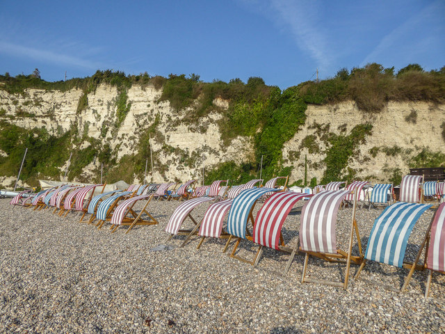 Deck Chairs on Beach, Beer, Devon