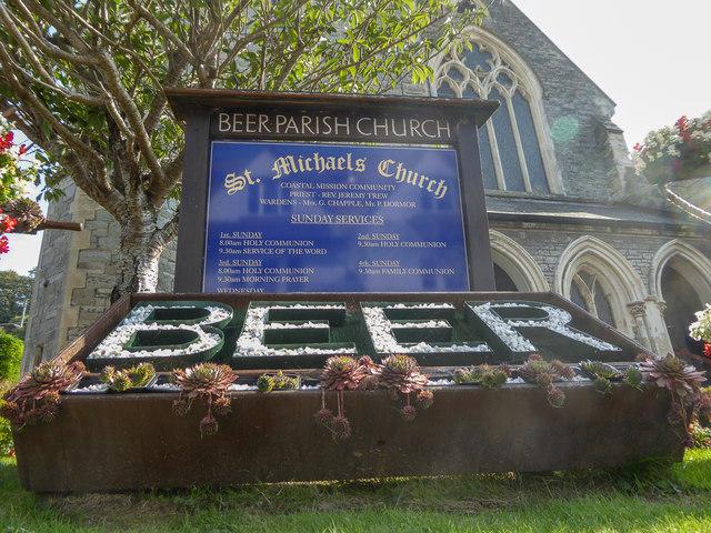 Information Board, St Michael's Church,  Beer, Devon