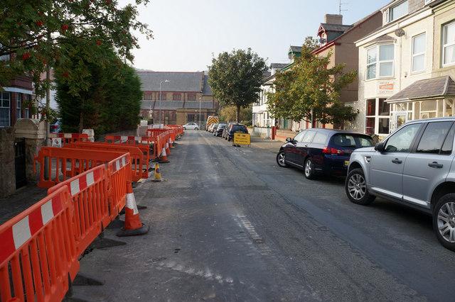 Roadworks on Caroline Street, Llandudno