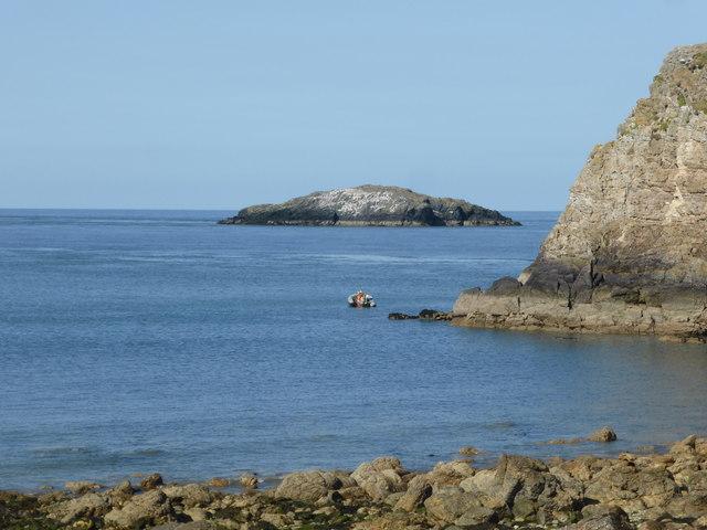 Dive boat off Llanlleiana Head