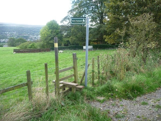 Footpath signpost and stile, south side, Hardings Lane