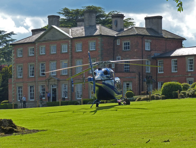 Helicopter in front of Ansty Hall Hotel