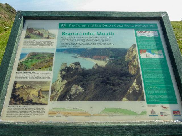 Information Board, Branscombe Mouth, Branscombe, Devon
