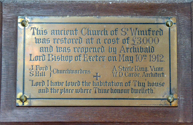 Plaque St Winifred's Church, Branscombe, Devon