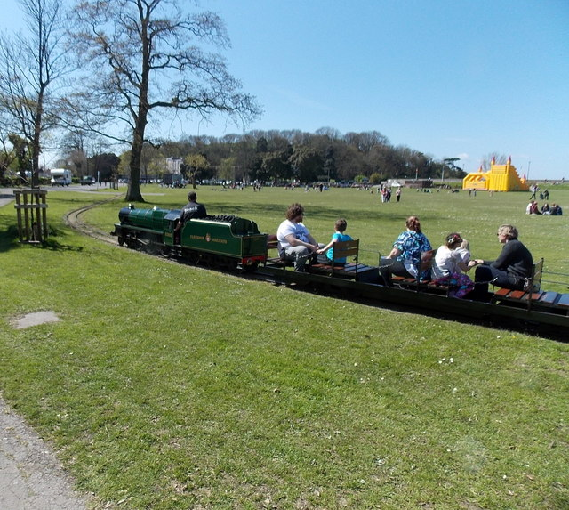Riding on the miniature railway in Clevedon