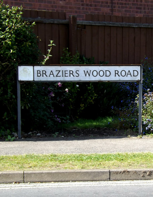 Braziers Wood Road sign