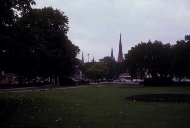 Three spires from Greyfriars Green
