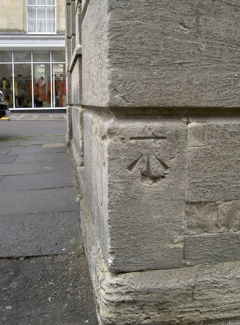 Benchmark on the corner of the old bank