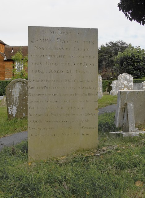 Memorial to a young soldier, 1804, Steyning churchyard