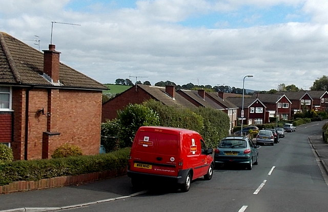 Royal Mail van on a Malpas corner, Newport