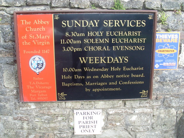 Noticeboard at Margam Abbey