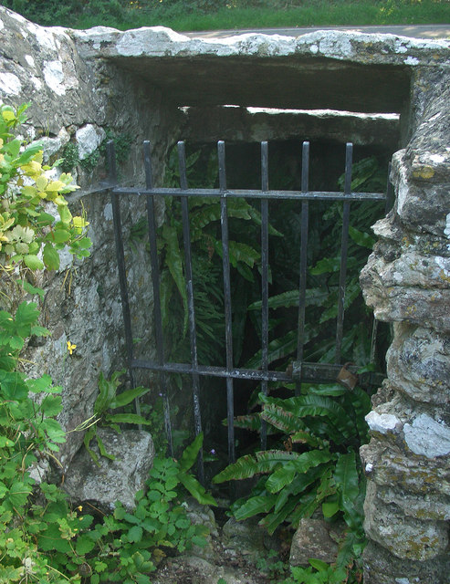 Gated entrance to St David's Well, Nottage