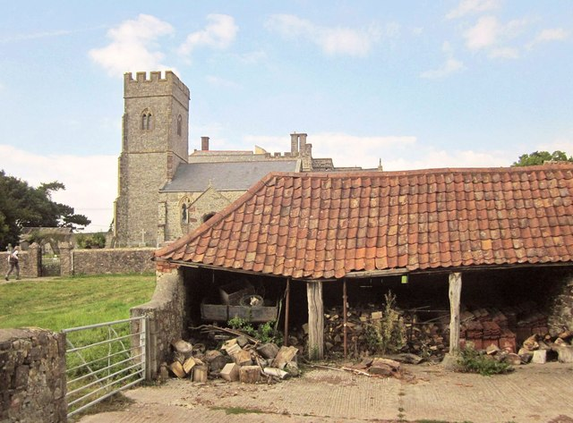 Shed and church, East Quantoxhead