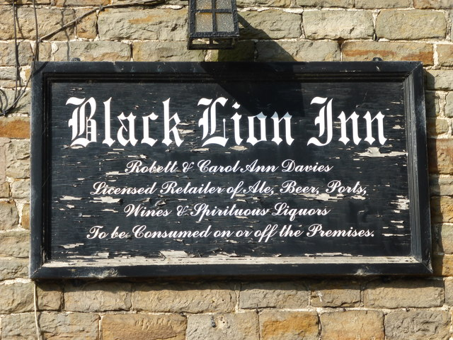Sign at the Black Lion Inn