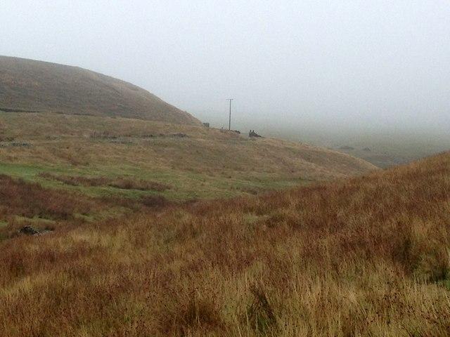 Misty moorland valley