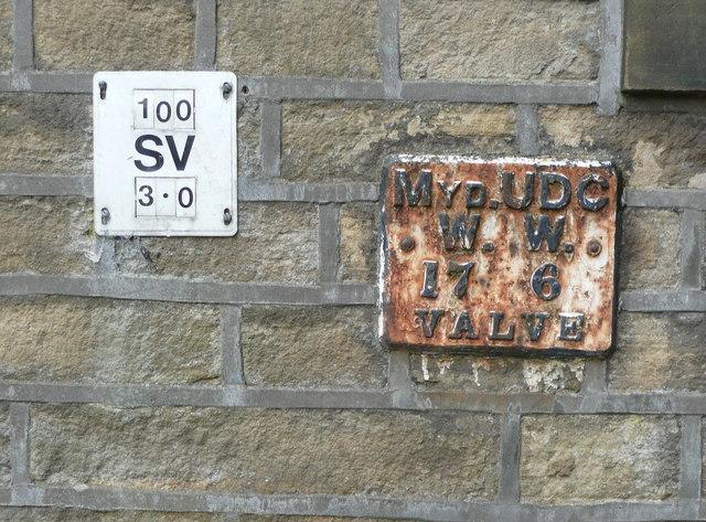 Mytholmroyd UDC WW valve marker plate, Hall Bank Lane