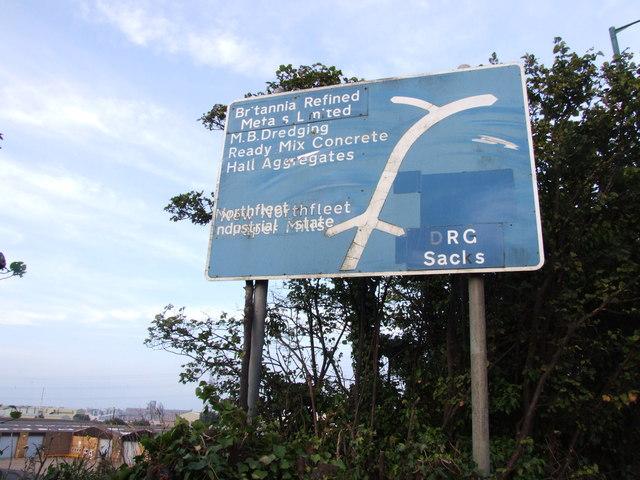 Direction sign, Northfleet Industrial Estate