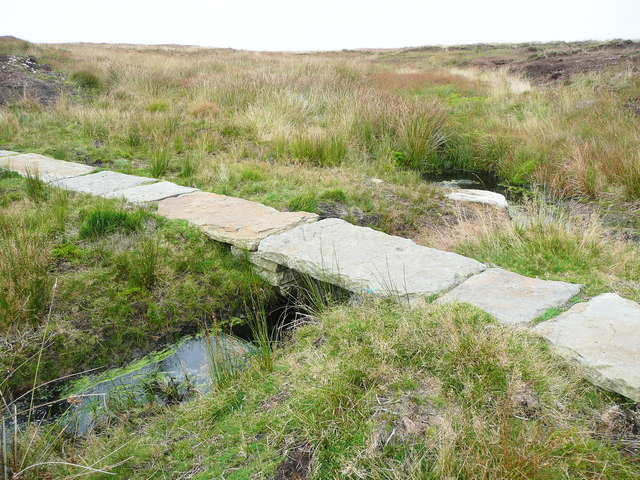 Stone slab footbridge replacing a ford