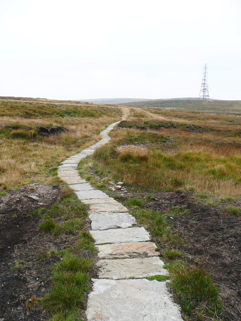 The Pennine Way looking back to the start of the paved section