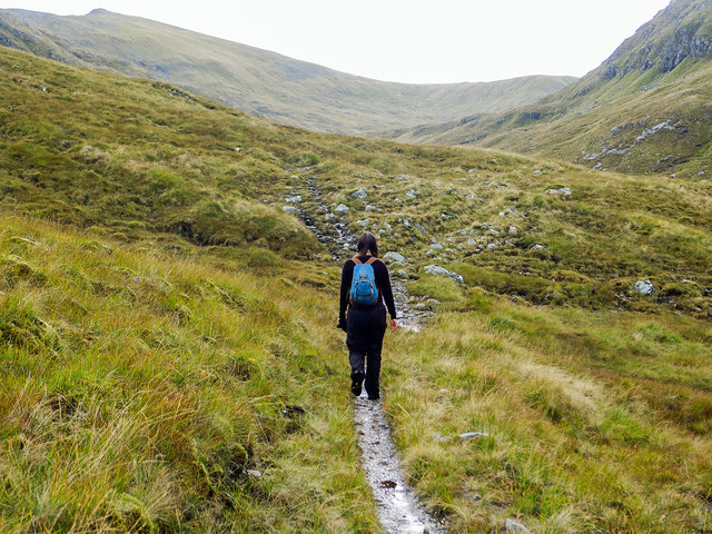 Ascending the Allt Breabaig valley on the long distance footpath