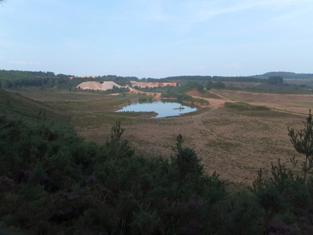 Quarries and flooded quarries on Bicton Common