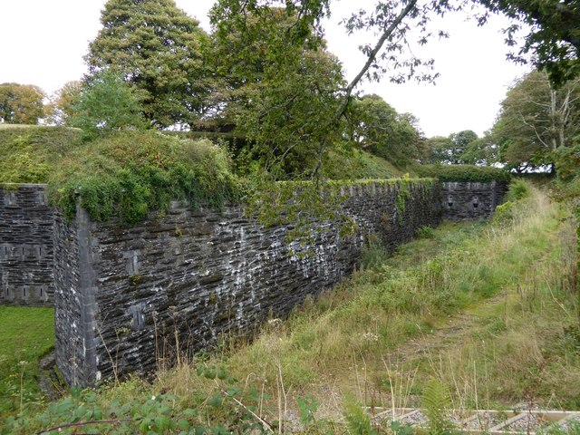 A corner of the wall and ditch of Crownhill Fort